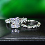 Wiley Hart Affordable Emerald Cut White Sapphire Halo Engagement Ring Band Set Bridal Ring Sets White Gold or Silver