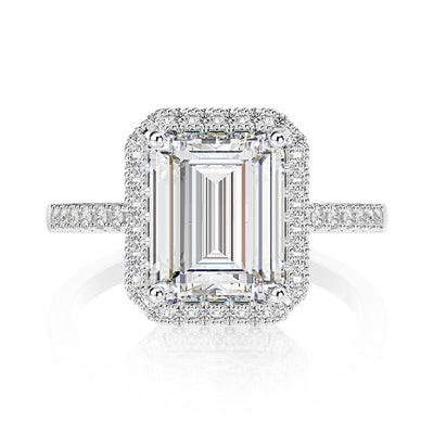 Wiley Hart Beautiful Emerald Cut White Sapphire Halo Engagement Ring Wedding Ring White Gold or Sterling Silver