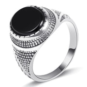 Wiley Hart Black Onyx Men's Wedding Band Men's Ring Men's Wedding Ring Stylish Classical Stainless Ring for Men
