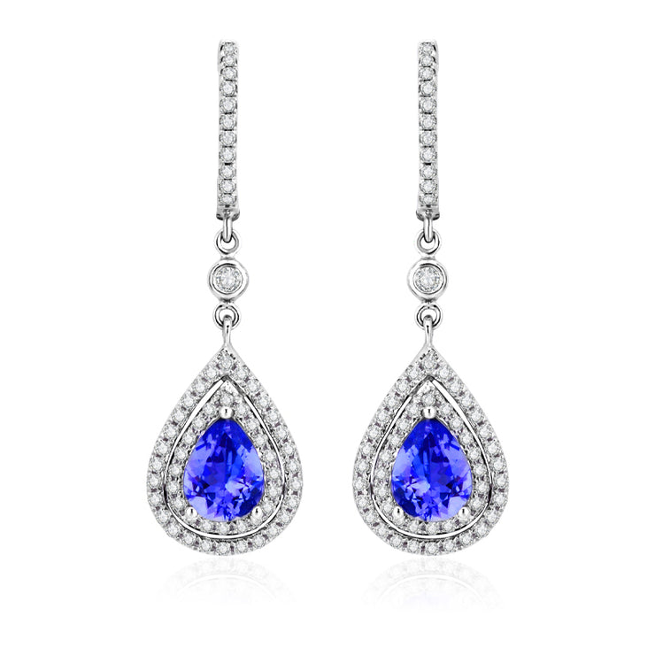 Wiley Hart Double Halo Pear Blue Lab Created Sapphire Drop Wedding Earrings Teardrop Bridal Earrings in 14K White Gold or Sterling Silver