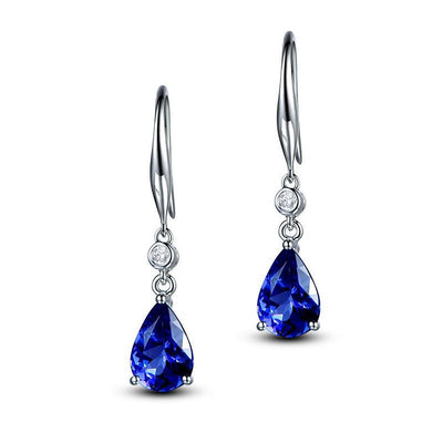 Wiley Hart Blue Sapphire Pear Cut Bridal Drop Wedding Earring sWhite Gold or Sterling Silver