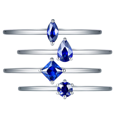 Wiley Hart Multiple Princess Round Pear Marquise Blue Sapphire Engagement Rings White Gold or Silver