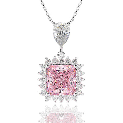 Wiley Hart Brilliant Pink Sapphire Radiant Cut Wedding Necklace White Gold or Silver