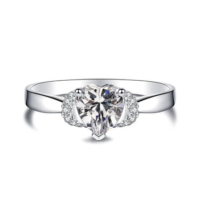 Wiley Hart Romantic All About White Sapphire Love Heart Cut Wedding Ring White Gold or Silver