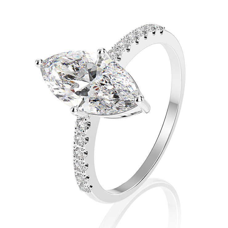 Wiley Hart Affordable Marquise Cut White Lab Created Sapphire Halo Engagement Rings Wedding Rings 14K White Gold or Silver