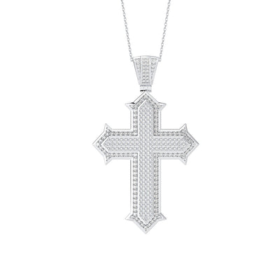 Wiley Hart Brilliant Diamond Cross Necklace White Sapphire Jewelry Anniversary Gift 14K White Gold or Sterling Silver