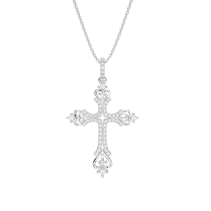 Gorgeous Blue Sapphire Cross Necklace Women Engagement Jewelry 14K Gold Plated