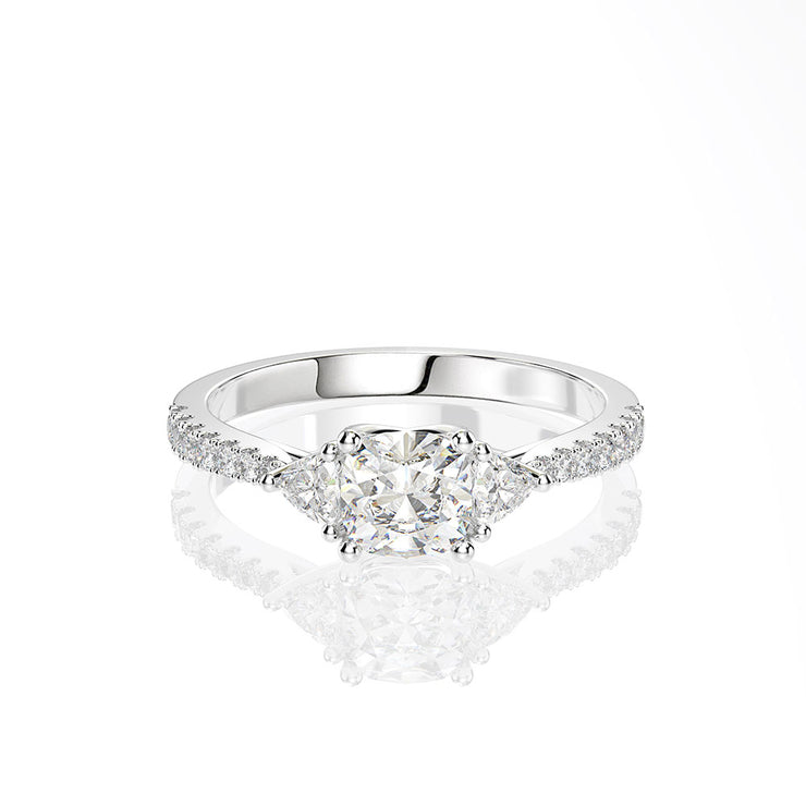 Wiley Hart White Lab Created Sapphire Cushion Cut Four Claws Ring Forever One Engagement Ring White Gold or Silver
