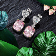 Wiley Hart Cushion Cut Pink Lab Created Sapphire Wedding Drop Earrings Dangle Bridal Earrings White Gold or Silver