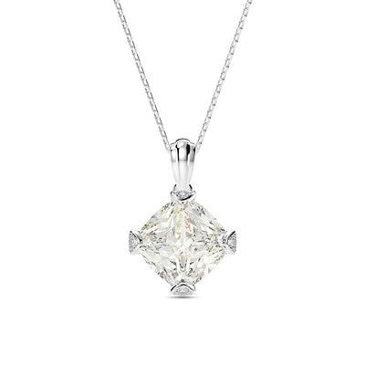 Wiley Hart Cushion Cut White Lab Created Sapphire Bridal Necklace Bridesmaid Necklace for Her White Gold or Silver