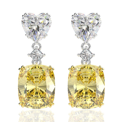 Wiley Hart Cushion Cut Yellow Lab Created Sapphire Wedding Drop Earrings Dangle Bridal Earrings White Gold or Silver