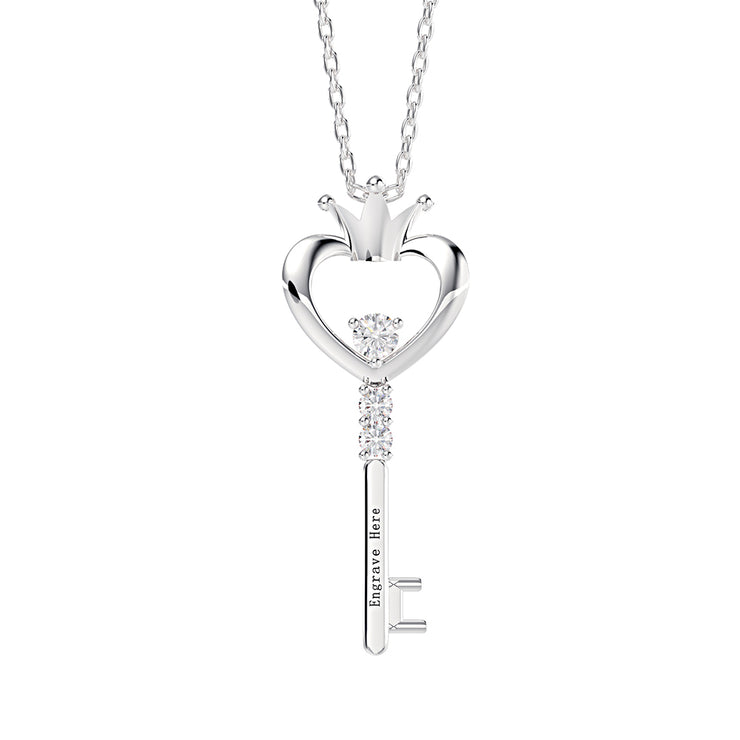 Wiley Hart Custom Design Memorable Engraved Love Heart Key Necklace Engagement Pendant in 14K White Gold or Sterling Silver