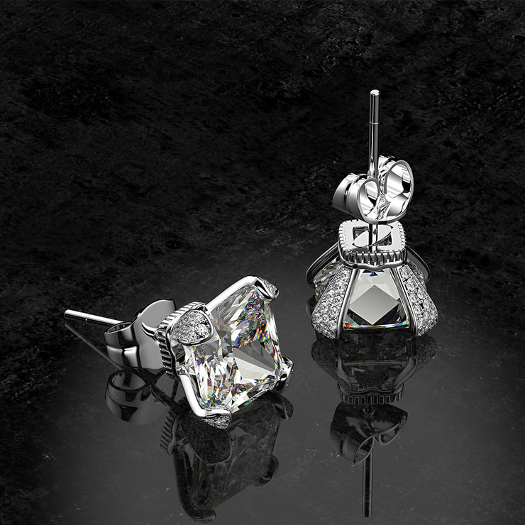 Wiley Hart Cute Cushion Cut White Lab Created Sapphire Stud Earrings Wedding Bridal Earrings White Gold or Silver