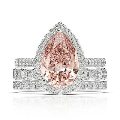 Wiley Hart Elegant Morgan Pink Sapphire Pear Halo Ring Set Wedding Ring Set White Gold or Silver