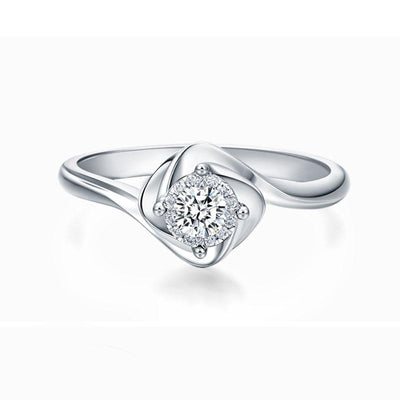 Wiley Hart Elegant Women White Sapphire Engagement Ring Round Cut Wedding Ring White Gold or Sterling Silver