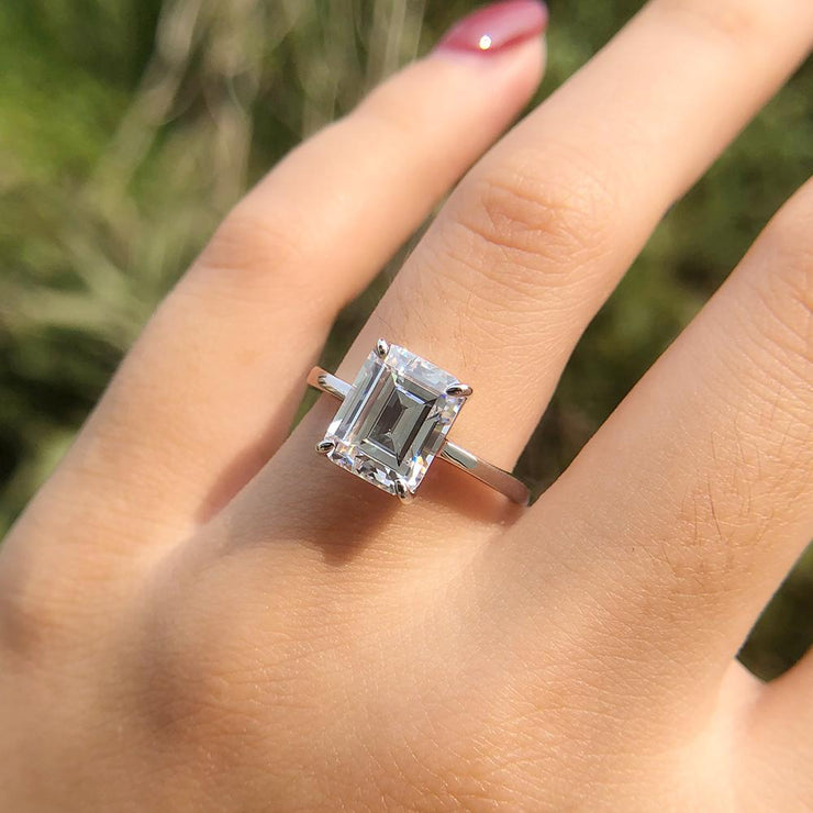 Wiley Hart Solitaire Emerald Cut White Sapphire Engagement Ring Wedding Ring White Gold or Silver