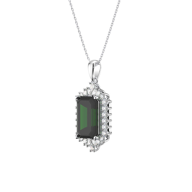 Wiley Hart Sparkle Anniversary Gifts 14K White Gold or Sterling Silver Women's Emerald Cut Necklace with Green Sapphire Stone