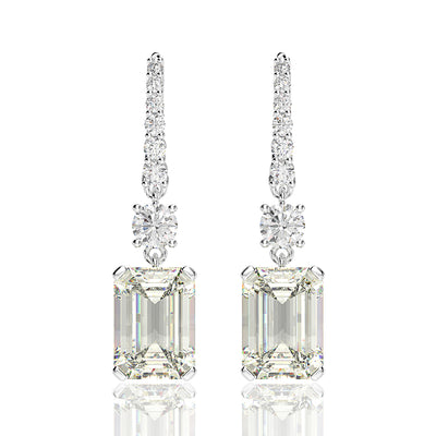 Wiley Hart 5.1 Carats Emerald Cut Lab-Created White Sapphire Sparkle Drop Hook Bridal Earrings Wedding in 14K White Gold or Silver