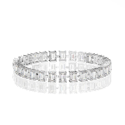 Wiley Hart Emerald Cut White Lab Created Sapphire Tennis Diamond Bracelets Friendship Bracelets White Gold or Silver