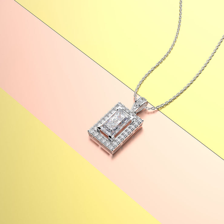 Personalized Engraved Women's 20 Inches Necklace with Emerald Cut White Sapphire Stone 14K White Gold or Sterling Silver