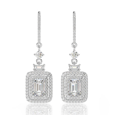 Wiley Hart Emerald Cut White Lab Created Sapphire Hook Wedding Earrings Bridal Long Drop Earrings White Gold or Silver