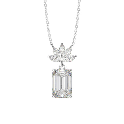Wiley Hart Classic Emerald Cut White Sapphire Necklace for Birthday Gifts with 14K White Gold or Sterling Silver