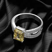Wiley Hart Emerald Cut Yellow Sapphire Women's Ring Split Shank Anniversary Ring White Gold or Silver