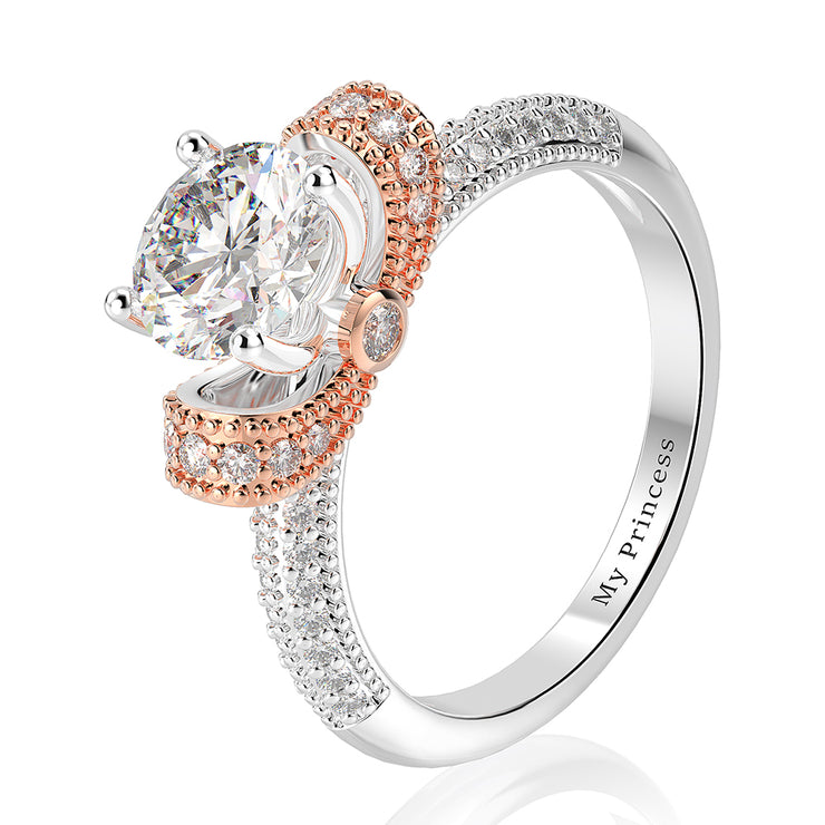 Wiley Hart Exquisite White Sapphire Engagement Ring Round Cut Anniversary Gifts in White Gold or Silver