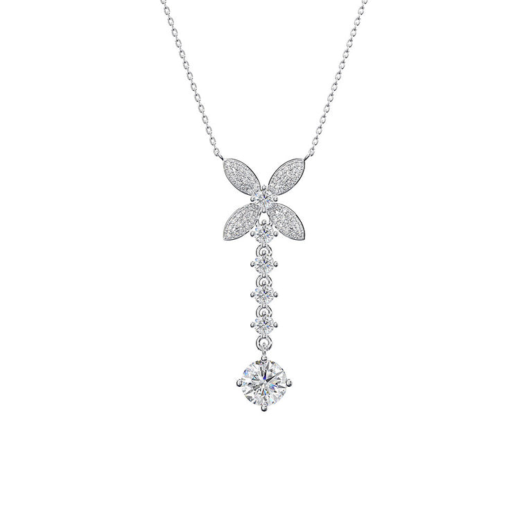 Wiley Hart Fine Jewelry Women Four-Leaf Clover Long White Sapphire Necklace 14K White Gold or Sterling Silver