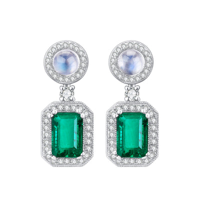 Wiley Hart Women's Halo Emerald Cut Green Sapphire Pearl Drop Wedding Earrings Bridal Earrings 14K White Gold or Sterling Silver