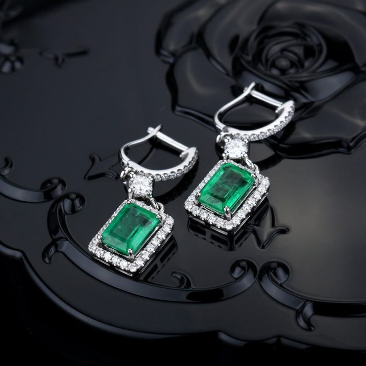Wiley Hart Women Bridal Halo Emerald Cut Green Sapphire Dangle Drop Earrings for Wedding 14K White Gold or Sterling Silver