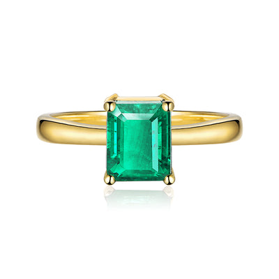 Handmade Simple Green Sapphire Emerald Cut Engagement Ring Gold or Silver Wiley Hart