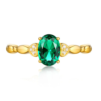 Wiley Hart Green Sapphire Oval Cut Women's Engagemtn Ring in White Gold or Silver