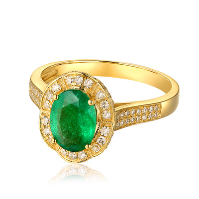 Wiley Hart Royal Oval Shape Green Sapphire Halo Engagement Ring in Gold or Silver