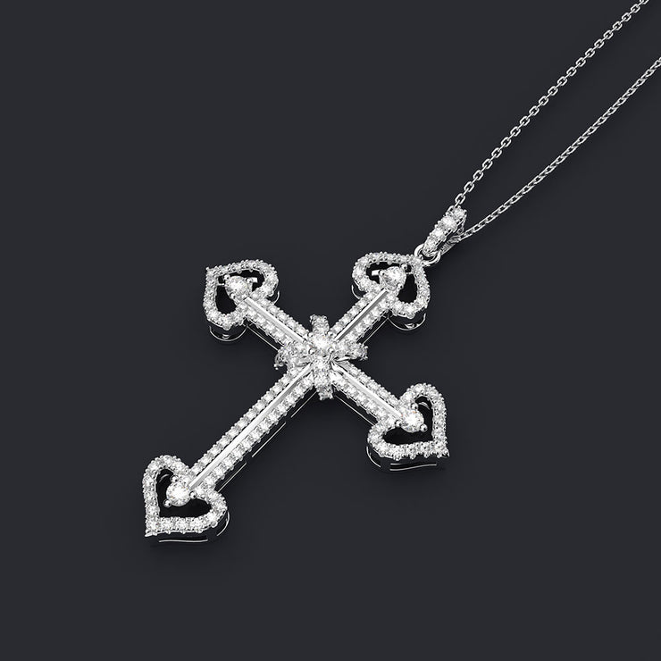 Wiley Hart Custom Heart Cross Twist Necklace for Birthday Gifts 14K White Gold or Sterling Silver