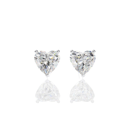 Wiley Hart Forever Heart Cut White Lab Created Sapphire Wedding Earrings for Brides Chrome Hearts Earrings in 14K White Gold or Sterling Silver