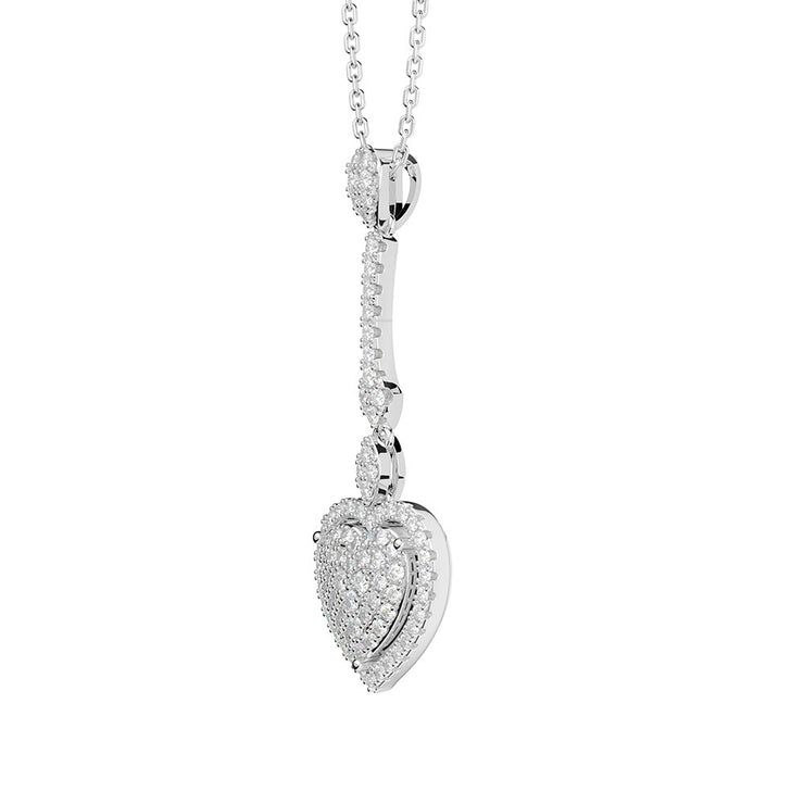 Wiley Hart Fashion Jewelry Heart Diamond Long Necklace for Birthday Gifts 14K White Gold or Sterling Silver