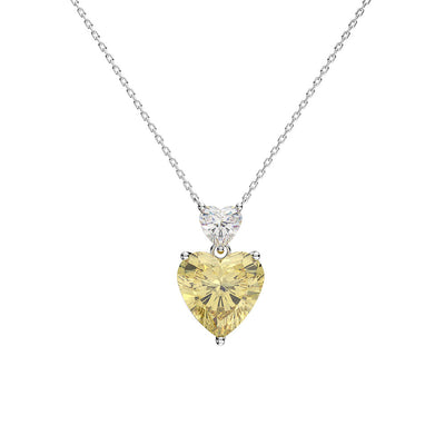 Wiley Hart Romantic Double Heart Yellow Sapphire Engagement Necklace Anniversary Gifts 14K White Gold or Sterling Silver