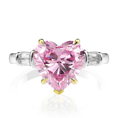 Wiley Hart Heart of Love  Pink Sapphire Wedding Ring Engagament Ring White Gold or Silver
