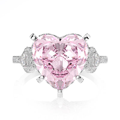 Wiley Hart Heart of Love Pink Sapphire Wedding Ring Engagement Ring White Gold or Silver