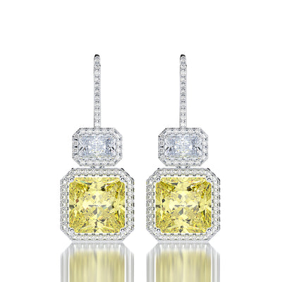 Wiley Hart Hollow Asscher Cut Yellow Lab Created Sapphire Bridal Drop Earrings Dangle Wedding Earrings White Gold or Silver