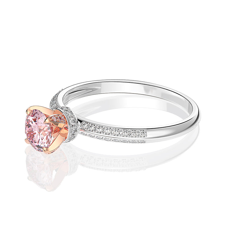 Wiley Hart Love You Pink Sapphire Round Cut Ring Engagement Ring White Gold or Silver