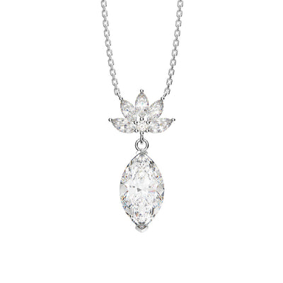 Wiley Hart 14K White Gold or Sterling Silver Women's Marquise Cut Engagement Necklace with White Sapphire Stone