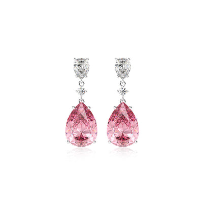 Wiley Hart Elegant Pink Sapphire Pear Cut Dangle Wedding Earrings Teardrop Bridal Earrings 14K White Gold or Sterling Silver