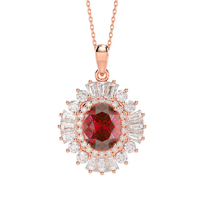 Wiley Hart 14K Rose Gold or Sterling Women Dazzling Oval Red Sapphire Engagement Necklace Birthday Gifts for Her