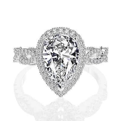 Wiley Hart Elegant Twisted Pave Pear Cut White Sapphire Halo Engagement Rings White Gold or Silver