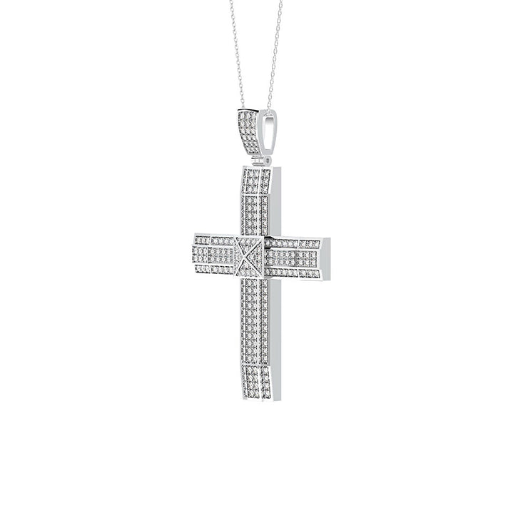 Wiley Hart Personalized Diamond Cross Engagement Pendant Necklace Anniversary Gifts 14K White Gold or Sterling Silver