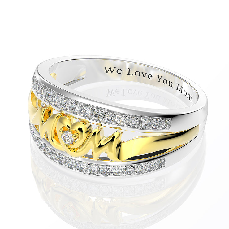 Wiley Hart Personalized Meaningful Mom's Ring White Sapphire Mother's Day Birthday Gift Gold or Silver