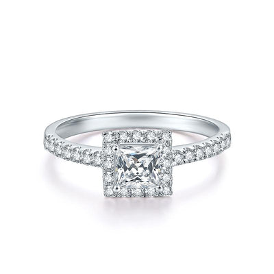Wiley Hart Forever Love Princess Cut White Sapphire Engagement Ring Wedding Ring in White Gold or Sterling Silver