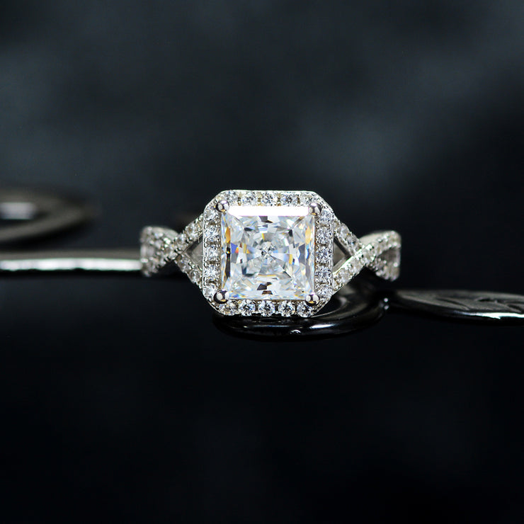 Wiley Hart Princess Cut White Sapphire Engagement Ring Twisted Shank Wedding Ring White Gold or Sterling Silver